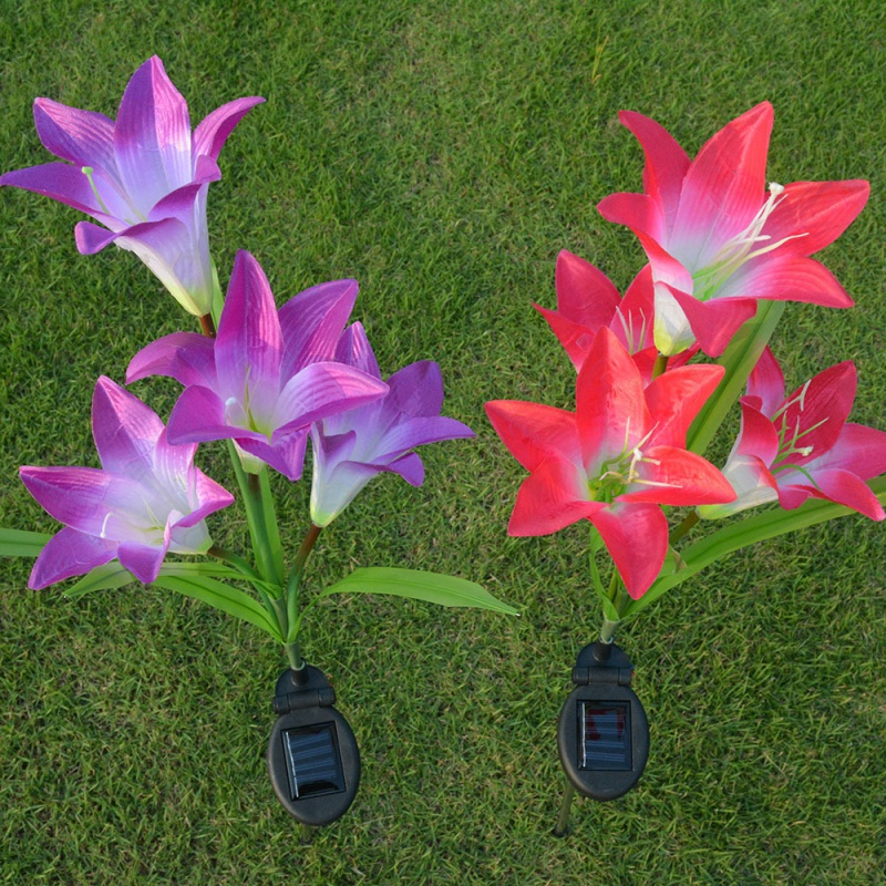 Lily Flower Solar LED Light Garden Yard Lawn 3 Led NightLight Lamp Landscape Garden Home ...