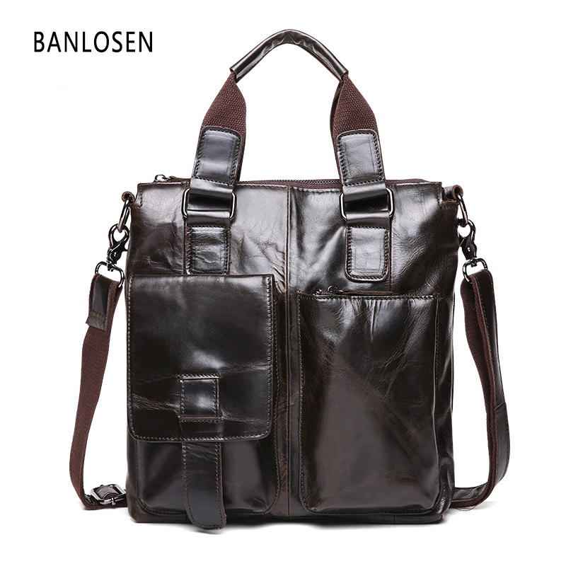 New Men Messenger Bags Genuine Leather Bag Men Briefcase Fashion Designer Handbags High Quality Famous Brand Business Bag YS1443
