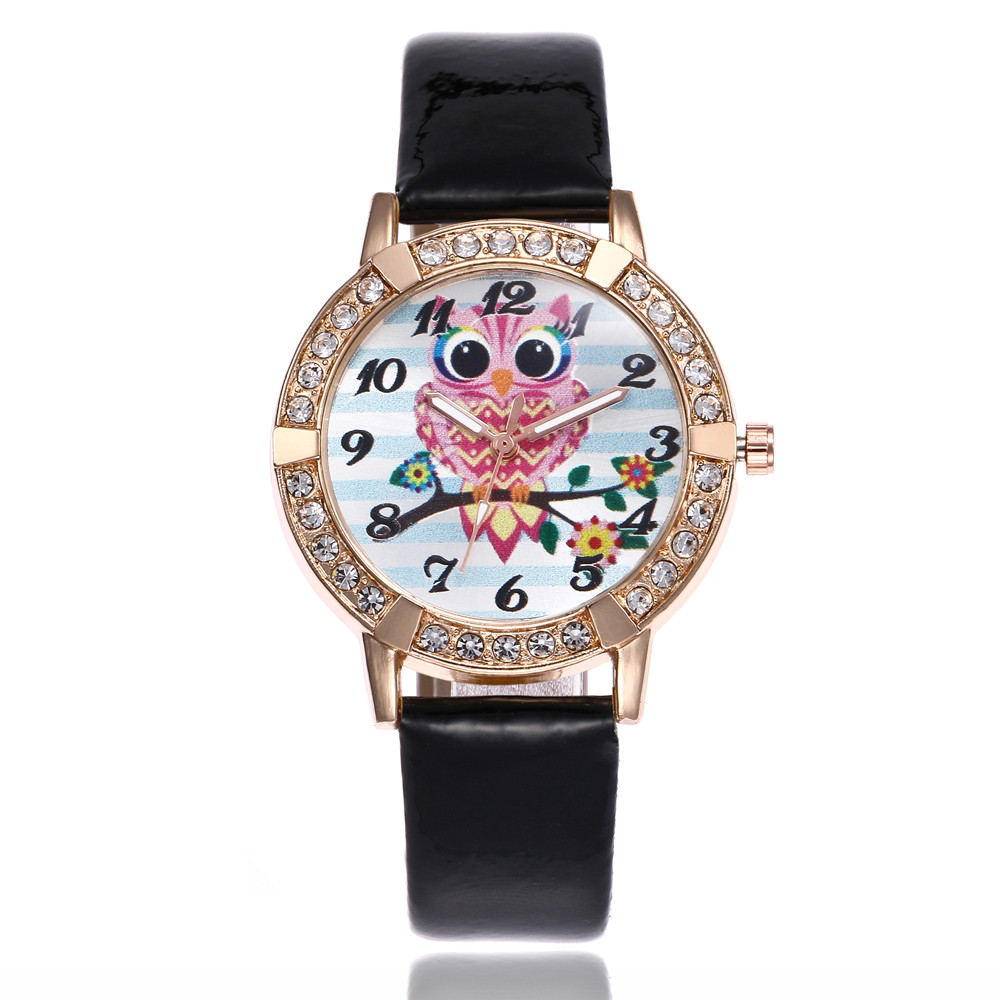 Cute Owl Leather Band Analog Quartz Round Wrist Watch Watches Women Fashion Hours Clock Relogio Sport Relojes Mujer 2018 NEW creative new coin pattern design women watch leather band analog quartz vogue wrist watches relogio feminino female clock time