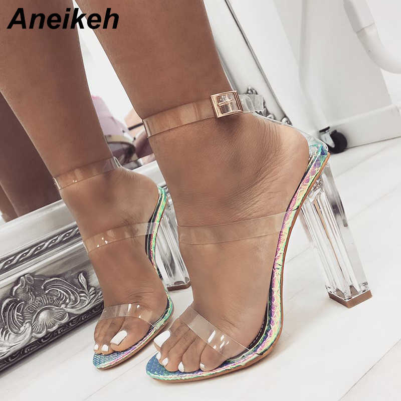 Aneikeh 2019 Concise PU Women Heeled Sandals Transparent Buckle Strap Clear Glass Heel Square High Heels Dress Office Size 35-42