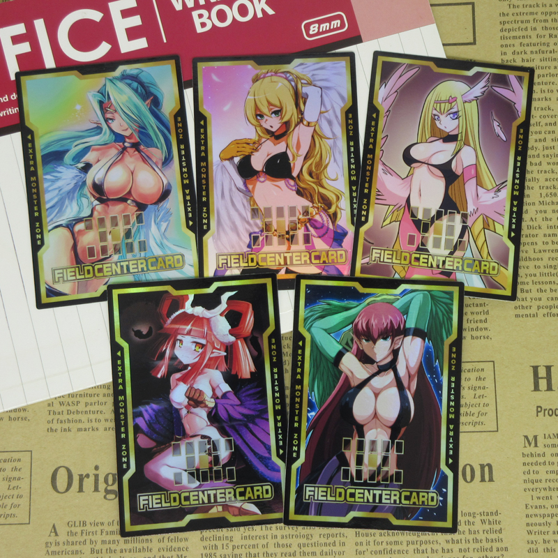 5pcs/set Yugioh Harpie Ladies Field Center Card Harpie Dancer Queen Girl Channeler Sexy Harpy Chicks Altered Art Foil Cards