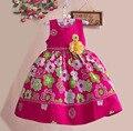 Цветочные платье 100% хлопок летние цветы платье принцессы девушки ну вечеринку одевается детской одежды для 3 - 7 лет