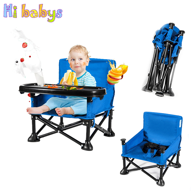 Portable Baby Feeding Chair With Safety Belt For Kids Toddler Fordable Booster High Seat With Harness Dinning Seat With Table