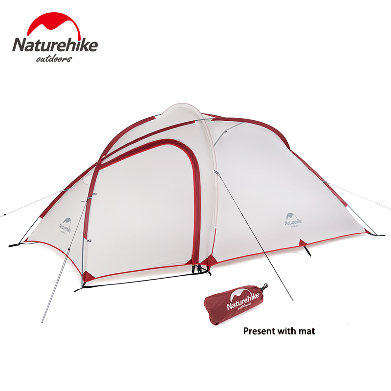 Naturehike 2-3 Person Camping Waterproof Tent 1 Bedroom 1 Living Room Tent Outdoor Double-layer Tent Sleeping Units NH17K230-N 2017 sale 3 4 person 1 bedroom 1 living room 2 layer tunnel famil party hiking travel cycling fishing beach outdoor camping tent