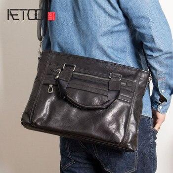 AETOO Men's handbags, head-layer psoriasis men's one-shoulder slanted bags, leather horizontal computer bags, briefcases