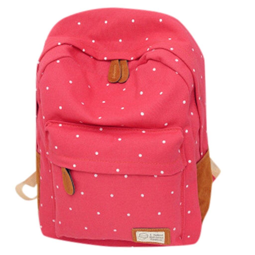 Shoulder-Bag Backpack-Wave-Point-Backpack Canvas Student Fashion Tour Lady -Gex