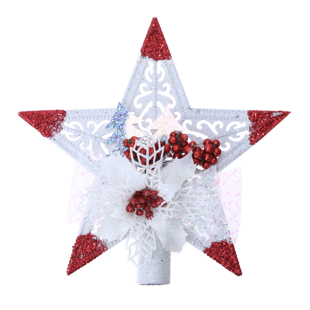 Christmas Tree Star Topper Plastic Sticky Tree Top Pentagonal Stars Vintage Xmas  Tree Pendant Ornaments New