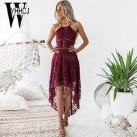 Wyhhcj 2018 платья с открытыми плечами летнее платье без рукавов кружева лоскутное аномалия женщин платье Высокая талия Холтер вечернее платье