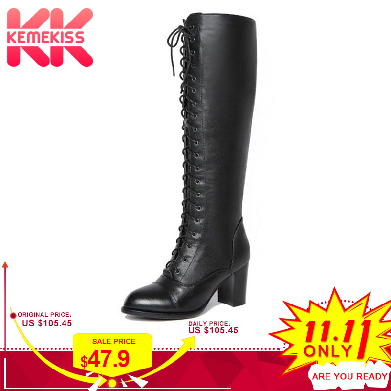 цены KemeKiss Women Genuine Leather High Heels Boots Lace Up Winter Shoes Women Warm Fur Knee High Boots Sexy Shoes Size 34-39