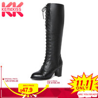 KemeKiss Women Genuine Leather High Heels Boots Lace Up Winter Shoes Women Warm Fur Knee High Boots Sexy Shoes Size 34 39