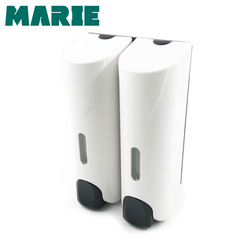 350ml*2 Liquid Double Soap Dispenser Wall Mounted Dispensers Kitchen Bathroom Bottle Pump