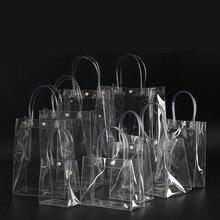 100pcs/LOT 13x19x8cm Waterproof transparent gift bag plastic bag PVC shop cosmetic packaging bag par