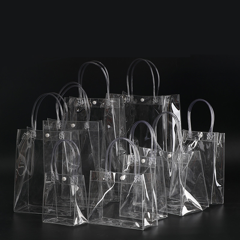 100pcs/LOT 13x19x8cm Waterproof transparent gift bag plastic bag PVC shop cosmetic packaging bag party holiday Supplies