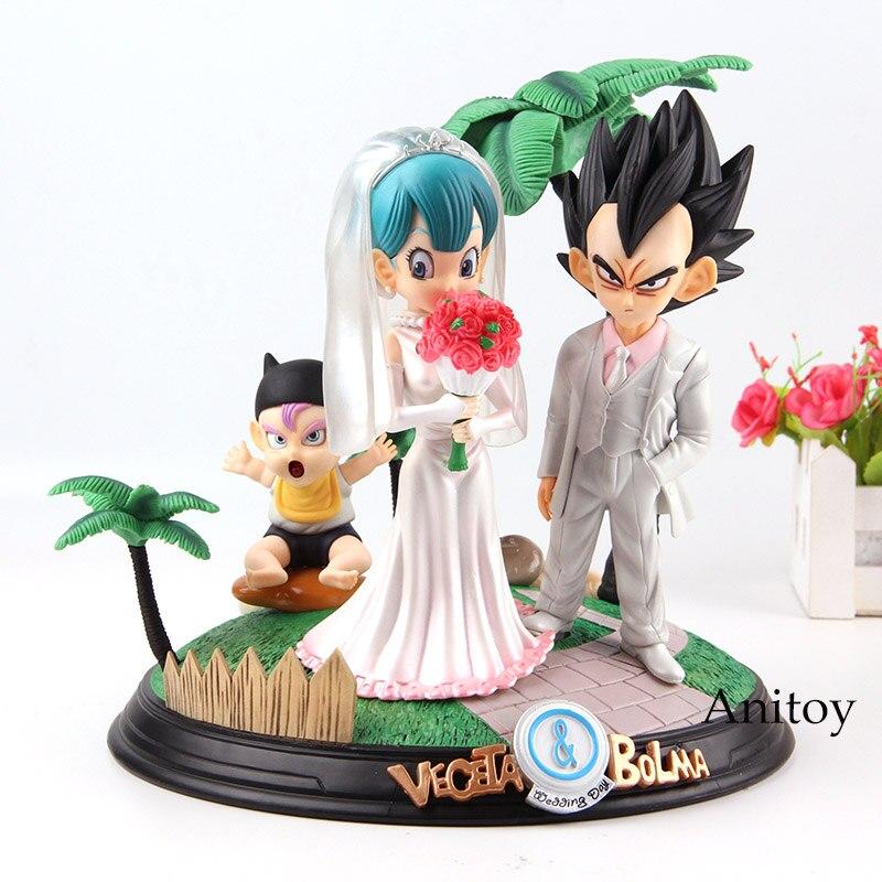 Figurine Dragon Ball Anime végéta & Bulma jour de mariage avec troncs bébé PVC végéta Dragon Ball Bulma figurine Collection jouet