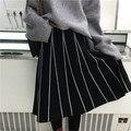 Faldas Para Mujer 2016 Otoño Invierno Estilo de Japón Del Vintage Una Línea Saias rayado Delgado de Cintura Alta de Punto la Falda Larga Negro Gris B162