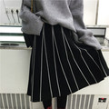 Skirts Womens 2016 Autumn Winter Vintage Japan Style A Line Striped Slim High Waist Knitted Long Skirt Black Gray Saias B162
