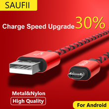 Micro USB Cable SAUFII nylon Flat USB Data Sync wire capa 5V 2A Quick Charge For
