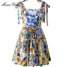MoaaYina, vestido de algodón de verano de alta calidad, vestido de mujer estampado de cerámica, Sexy, sin espalda, con tirantes finos, vestido bohemio de pasarela