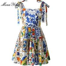 Moaayina alta qualidade vestido de algodão de verão das mulheres pintados cerâmica impresso sexy sem encosto cinta espaguete pista bohemia vestido