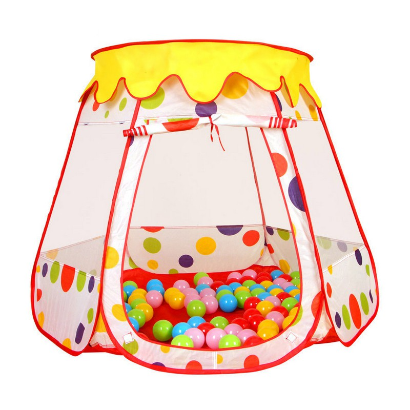 JISILI Foldable Children Kids Play Tent Ocean Ball Pool Play House Baby Educational Outdoor Hut Tent House