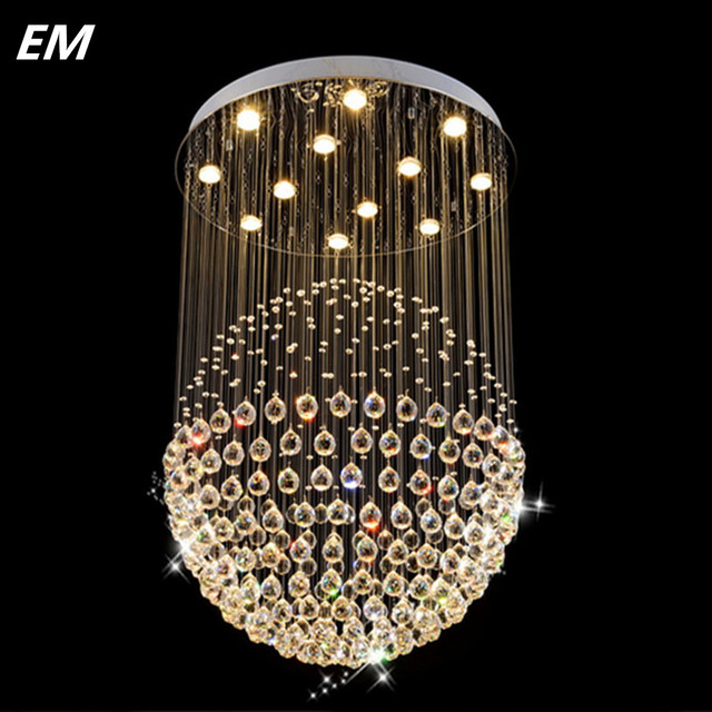 Modern staircase led crystal chandeliers lighting fixture for hotel modern staircase led crystal chandeliers lighting fixture for hotel lobby foyer ball shape rain drop pendants aloadofball Images