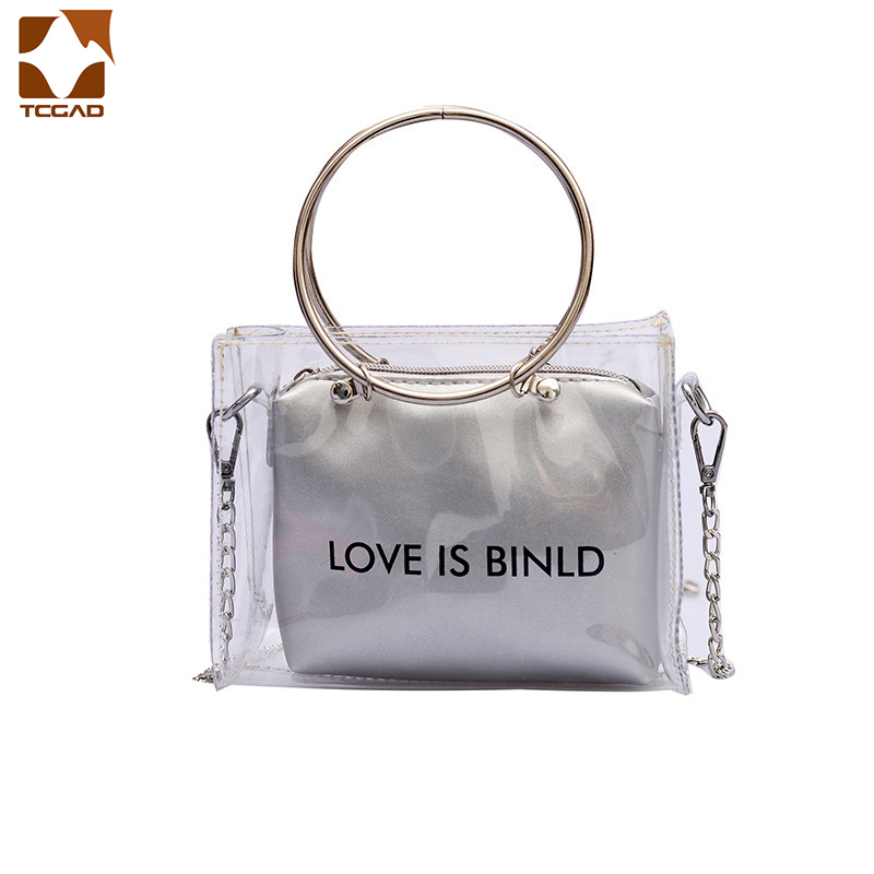 Women Transparent Bag Clear PVC Jelly Small Tote Female Messenger Bags Laser Holographic Shoulder Bags Lady composite bag F75