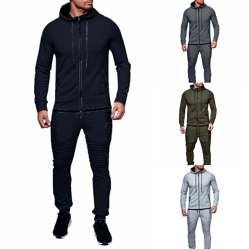 HTB1z3W2aE rK1Rjy0Fcq6zEvVXa7 HEFLASHOR Men Drawstring Sportwear Set Fashion Solid Sweatshirt&Pants Tracksuit Casual Zipper Hoodies Outwear Clothes 2019