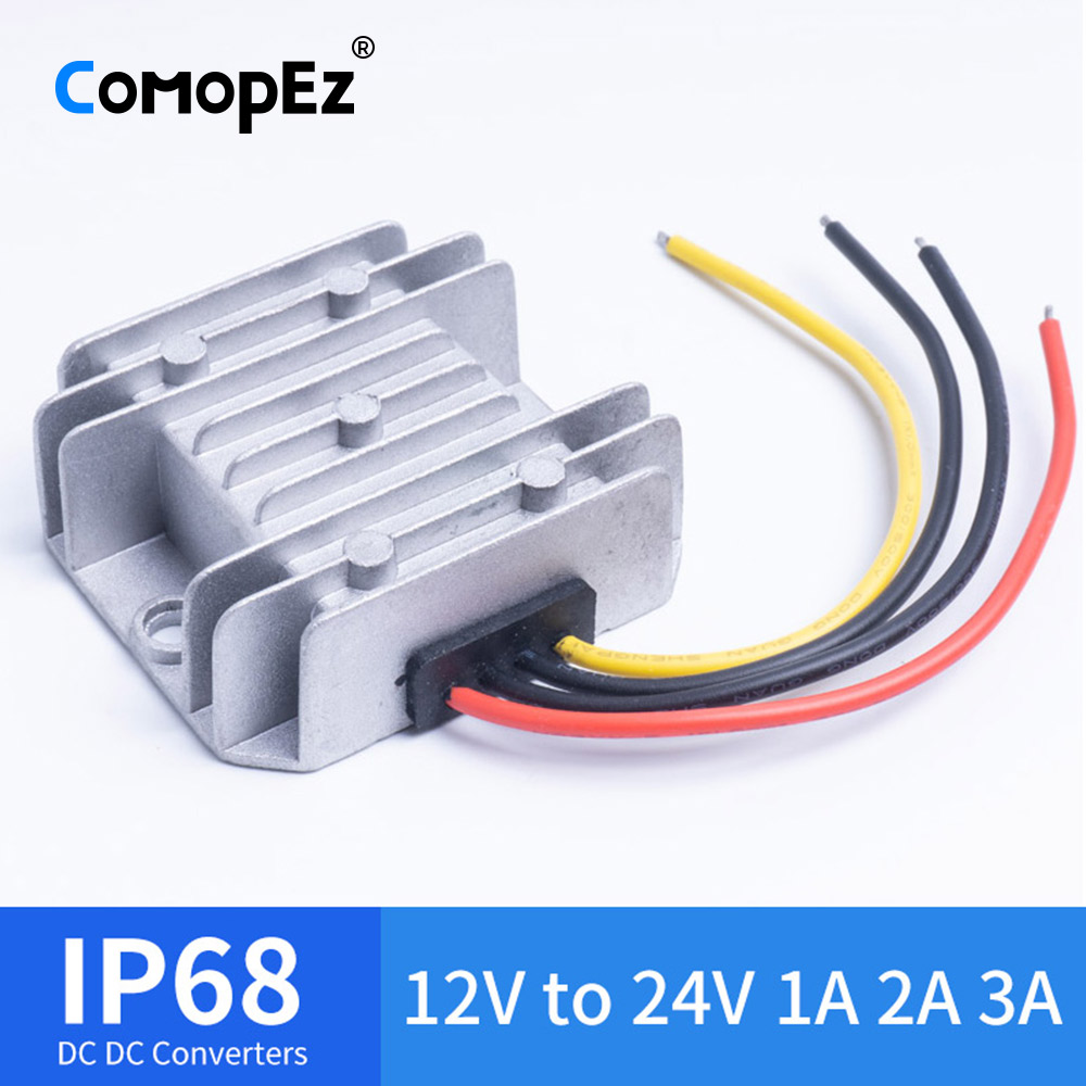 AweKing Waterproof DC//DC 12V Step Up to 24V 3A 72W Voltage Boost Converter Regulator Transformer Power Supply for Car Truck Vehicle CE listed