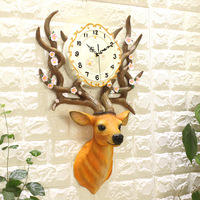 Fashion 3D Deer Head Resin Wall Clock Home Luxurious Decoration Adornment Crafts Quartz Needle Digital Mute Hanging Watch Clocks
