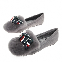 British Elegant Bow Rabbit Hair New Wool Comfort Shoes Casual Flat Lazy Leisure Shoes Big Size Women's Flats YX0020