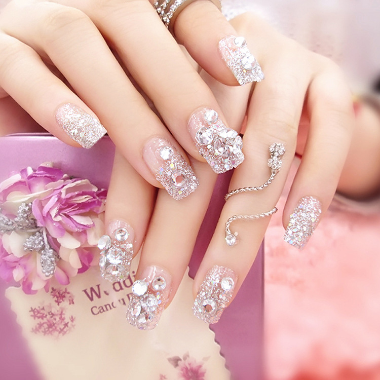 Gradient silver False Nails Full Cover False Nail with Glittering ...