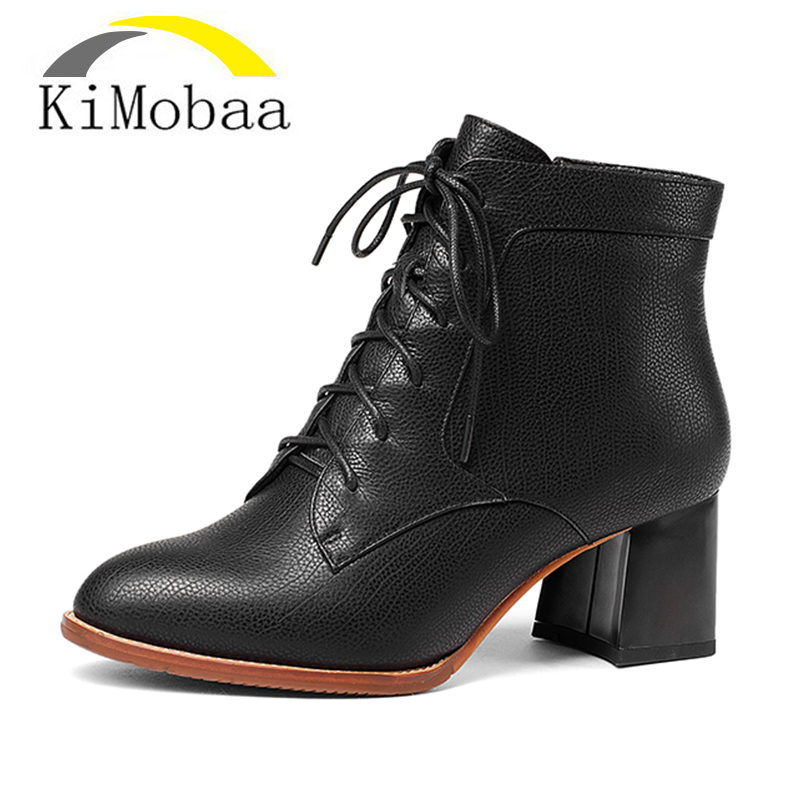 Kimobaa Leather Ankle Boots Winter Genuine Leather Women Shoes Ladies Short Boots Superior Cowhide Shoes Women Big Size TX164 large size 34 40 2016 fall women ankle boots cowhide soft leather flower genuine leather women short boots flat with shoes lady