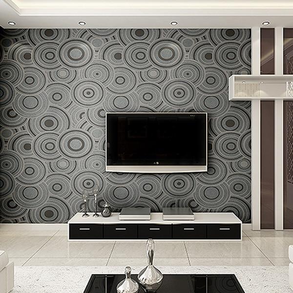 PAYSOTA Moderne Einfache Vlies Tuch Wand Papier Abstrakten Geprägte Grau  Ring Schlafzimmer Wohnzimmer TV Set Wand