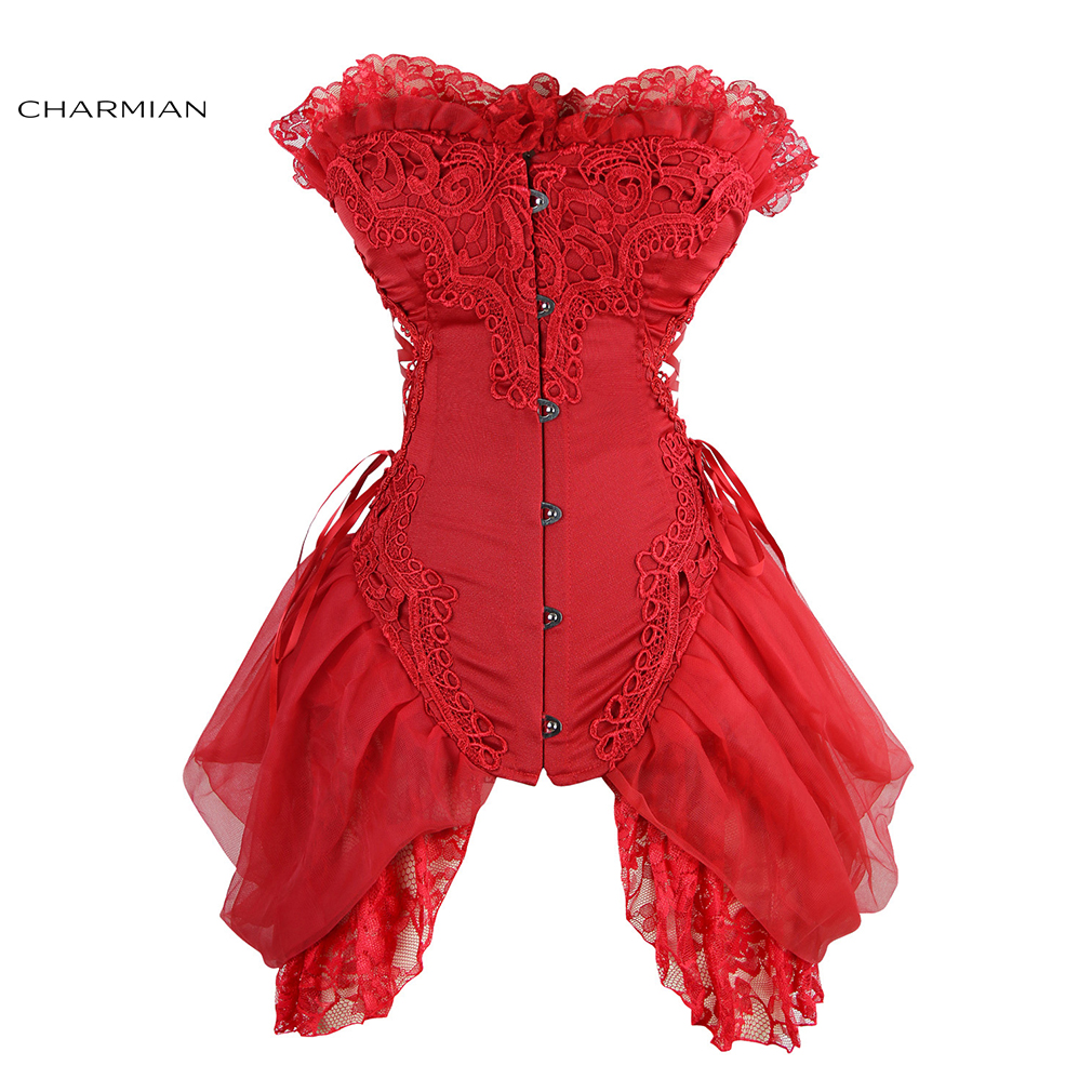 c8bbf9a6ff Charmian Women s Sexy Gothic Vintage Overbust Corset without Bones Wedding  Bridal Plus Size Corsets and Bustiers with Lace Trim-in Bustiers   Corsets  from ...