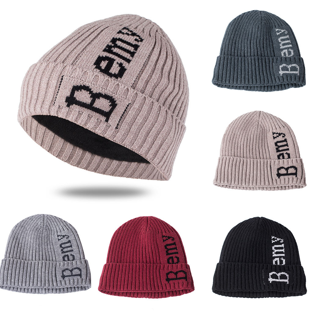 2018 New Comfortable Unisex Men Keep Warm Winter Warm Beanie Knit Letter Hat Cap Knitted Hat Fall Hat Beanie Hat Solid Hip-hop