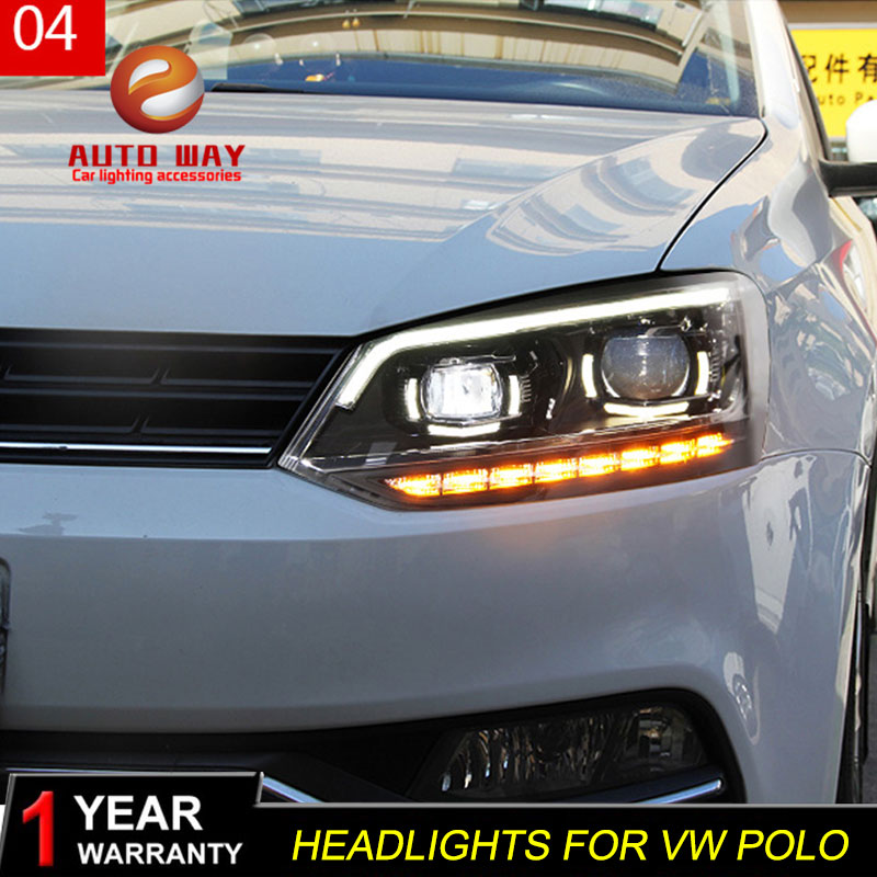 Car Styling Head Lamp case for VW Volkswagen polo Headlights polo 2011 2017 LED Headlight DRL Lens Double Beam Bi Xenon HID