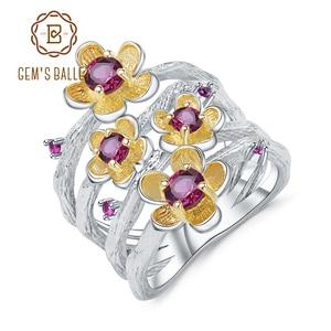 Image 1 - GEMS BALLET 925 Sterling Silver Handmade Ring 0.96Ct Natural Rhodolite Garnet Plum Blossom Flower Rings for Women Fine Jewelry