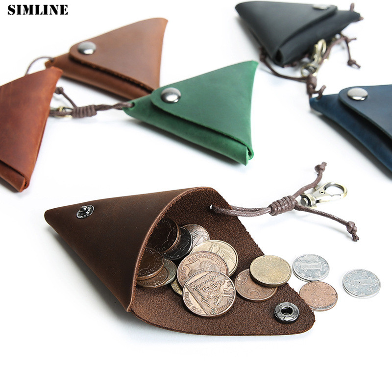 SIMLINE Genuine Leather Coin Purse Men Women Vintage Crazy Horse Cowhide Small Mini Storage Bag Pocket Holder Keychain Wallet