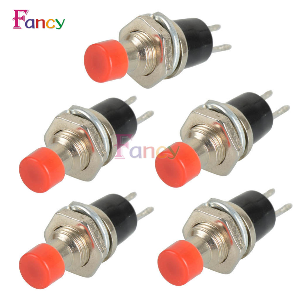 5PCS PBS-110 ON OFF Push button Red Black Blue Mini Lockless Momentary Switch Black Blue Red 10pcs mini micro diy 7mm thread 2 pins momentary push button switch red black white blue yellow green lockless self rest on off