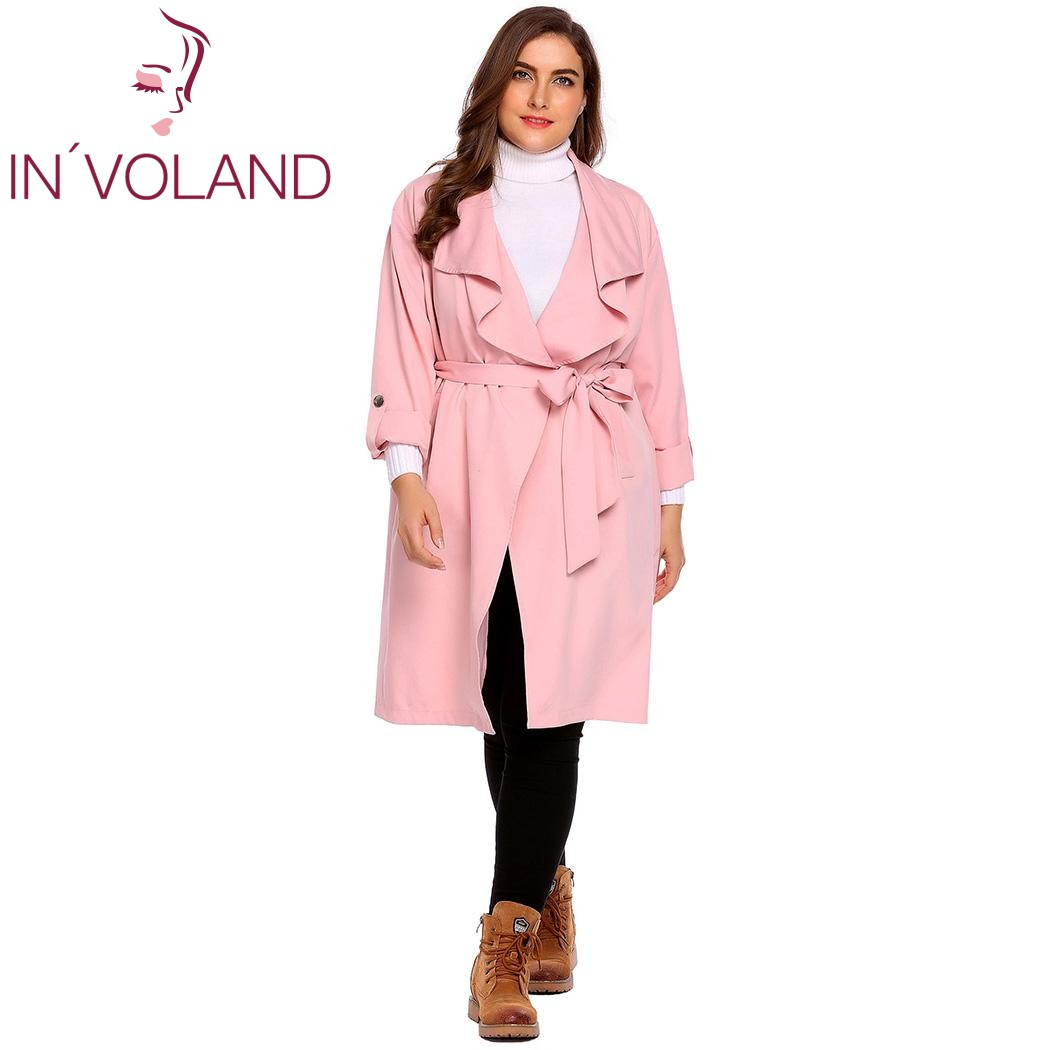 IN'VOLAND Women's   Trench   Coat Plus Size M-3XL Autumn Winter Long Sleeve Solid Large Windbreaker Overcoat Big Size With Belt