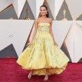 Gorgeous Alicia Vikander 2017 Oscars Red Carpet Dresses Fashion Strapless Beaded Yellow Party Dress Abendkleider zl-1