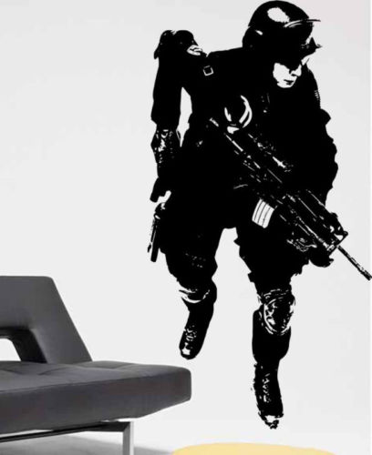 Free shiping Wall Decal  Military Soldier Army Man Boy Room Vinyl Sticker for room decoration