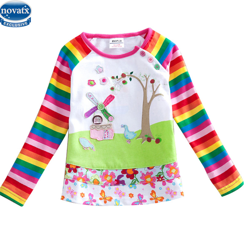 novatx F1411 girl clothing shirts kids wear children clothes printed floral lovely girl litle girl long sleeve t-shirt hot top wide sleeve color block floral top