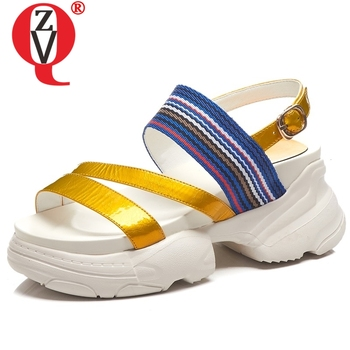 ZVQ ethnic punk striped leather sandals Student casual style outdoor sports striped high heels wedges platform shoes