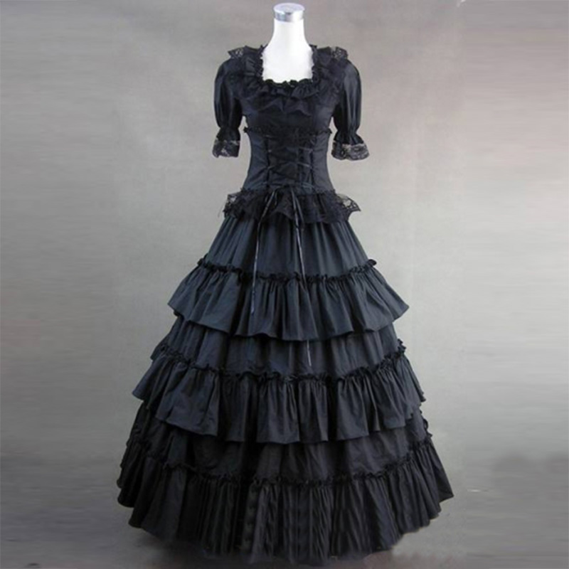 2018 Black and White Cotton Gothic Victorian Party Dress 18th Century Retro Short Sleeve Court Princess