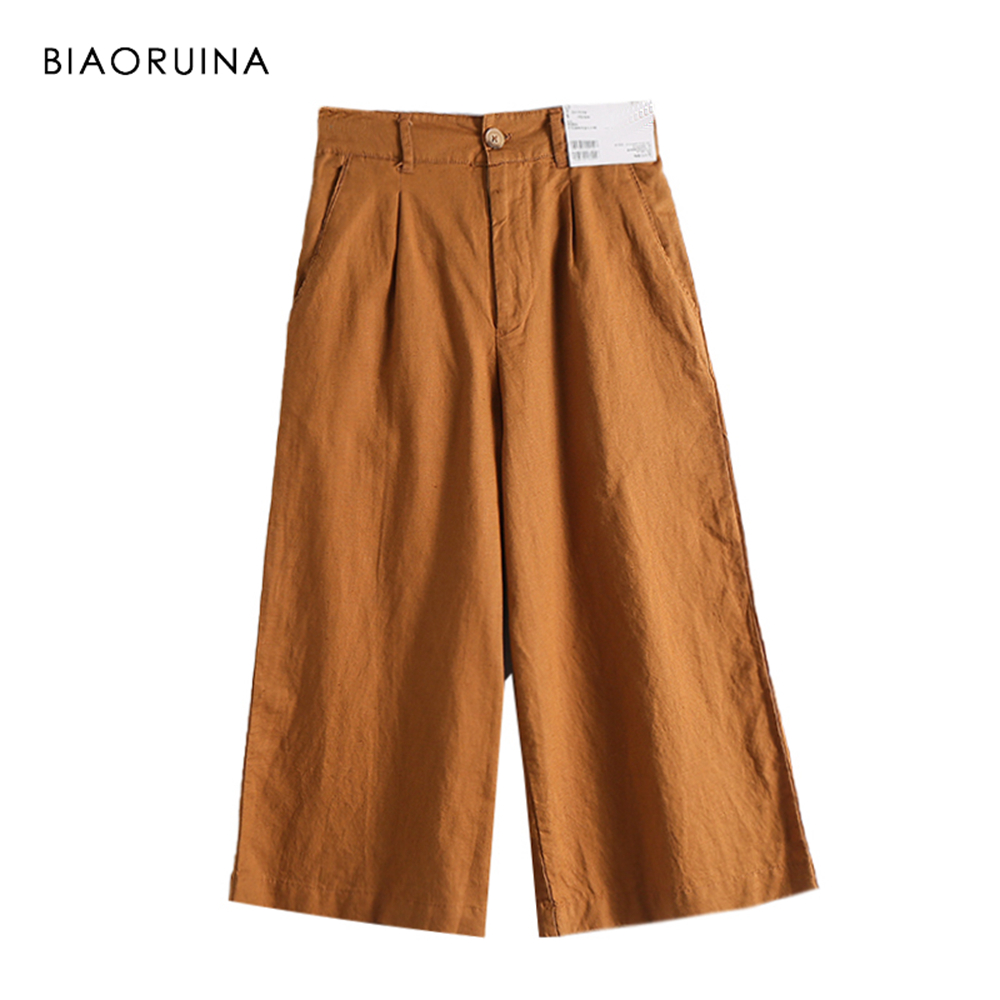 BIAORUINA Women Solid Cotton Linen Calf-Length   Pant   Female Loose   Wide     Leg     Pant   Women's Fashion High Waist Summer   Pant   Trousers