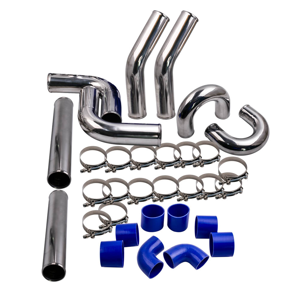 Universal 3 76mm Polished Aluminum Intercooler Pipe Kit Clamp US Hose