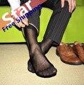 El comercio exterior de los hombres medias de seda de nylon transparente calcetín ultra-delgado super sexy estilo de la Tela Cruzada de los hombres calcetines de nylon libre gratis
