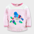 Autumn Baby Girls T-shirts Long Sleeve Fashion Girls Clothes Applique Embroidery Bird Kids Tops Cotton Children's Tees 1-6 Year