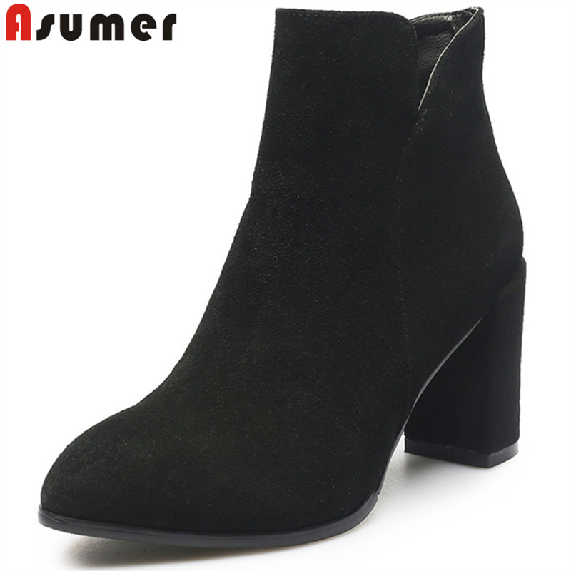 ASUMER 2018 fashion autumn new shoes woman round toe zip thick high heels ankle boots women suede leather prom boots купить в Москве 2019